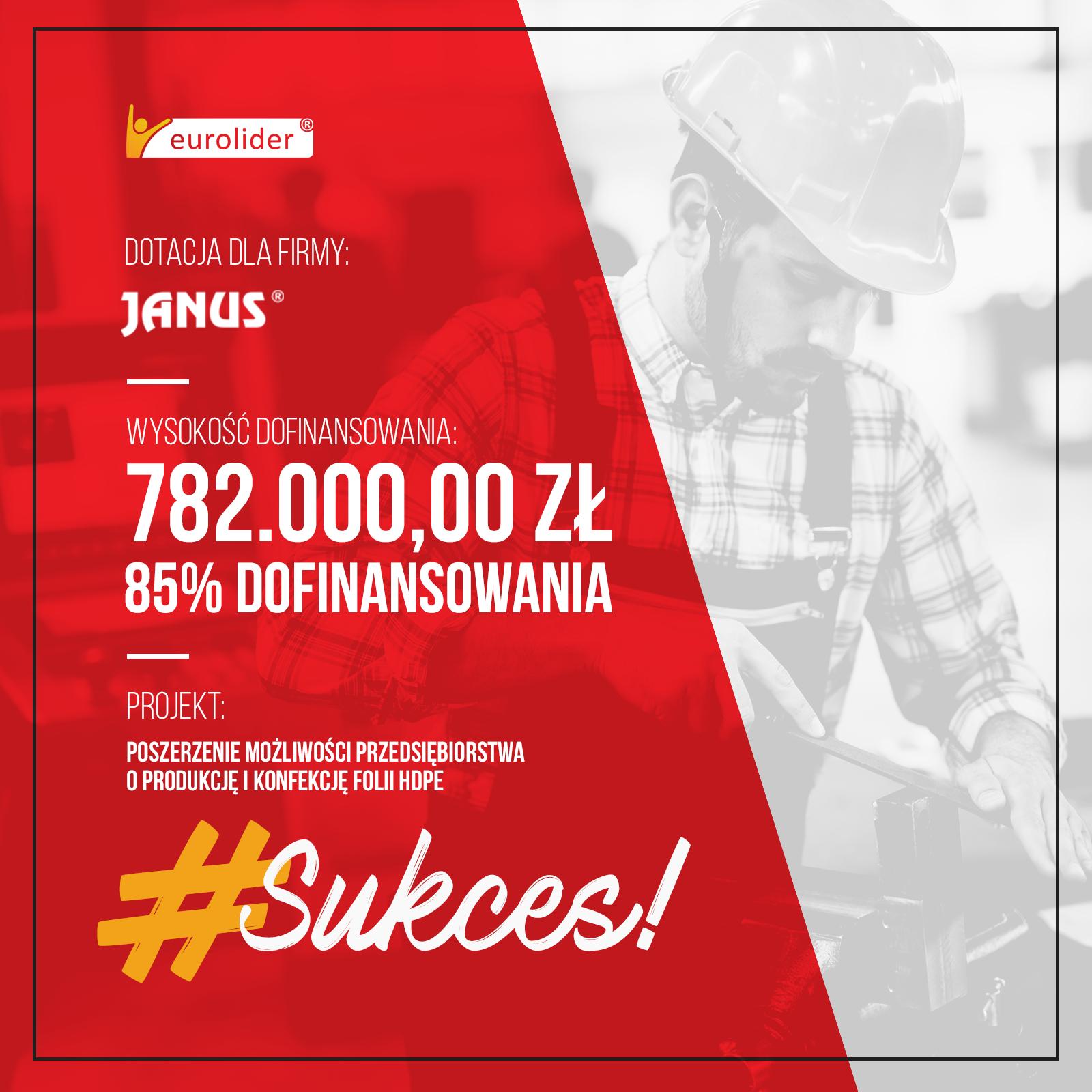 dotacja dla firmy janus, wysokość dofinansowania 782.000,00 zł